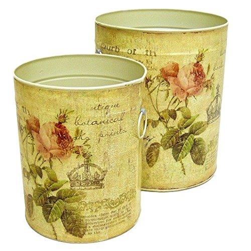 Better & Best 2361091 - Set di 2 pattumiere con disegno di rosa e corona, colore beige