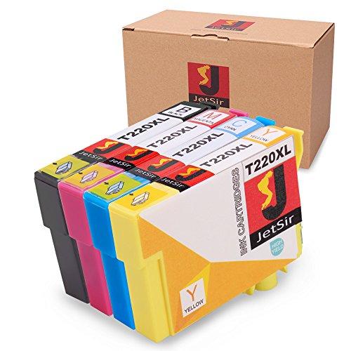 JetSir T220XL120 (220XL) High-Capacity Black Ink Cartridge 220XL/220XL High Yield Black and Color Cyan Magenta Yellow Cartridge, (T220XL-BCS), Combo 4/Pack for Epson Expression (XP-series) XP 320 XP 420 XP 424. WorkForce (WF-series) WF 2630 WF 2650 WF 2660