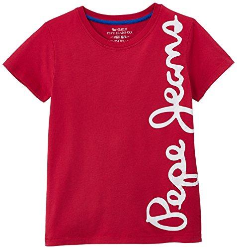 Pepe Jeans Jungen T-Shirt, WALDO SHORT, GR. 176 (Herstellergröße: 16 ans), Rot (Red)