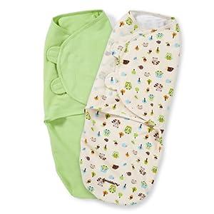 Summer Infant SwaddleMe Adjustable Infant Wrap, Woodland Friends, 2 Count