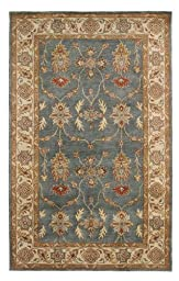 Area Rug, Blue/Ivory Traditional Bordered Soft Wool Carpet, 4-Foot X 6-Foot