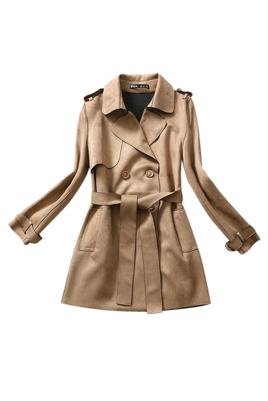 Voguees Damen Zweireihige Lange Stil Slim Fit Trenchcoat Jacke mit Guertel
