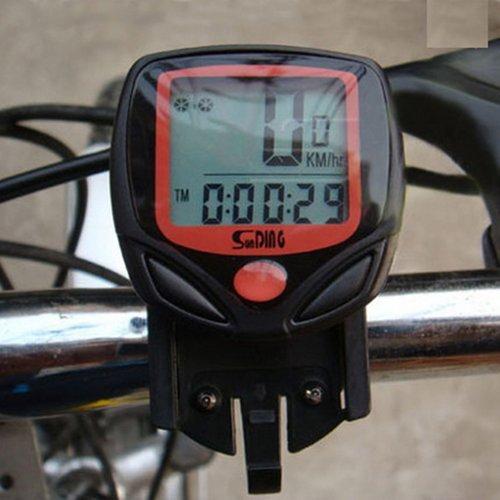AUCH Waterproof Multi-function Black Wired Magnetic Cycle LCD Speedometer Bike Speedo Odometer