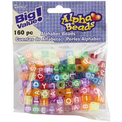 Alpha Glitter Cube Beads