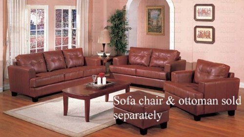 Buy Low Price Coaster 2pc Sofa & Loveseat Set with Wooden Legs Contemporary Brown Leather (VF_Livset-501591-501592)