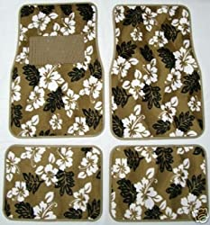 - 	 Tan Beige Hawaiian Hibiscus Carpet Front & Rear Car Truck Floor Mats