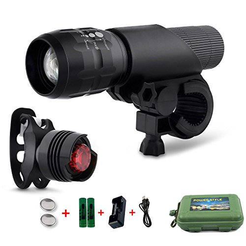 Coomatec-LED-Fahrradlampe-Frontlicht-und-Rcklicht-Taschenlampe-SetInklusive-Batterien-3-Licht-Modi-200lm-Wasserdicht