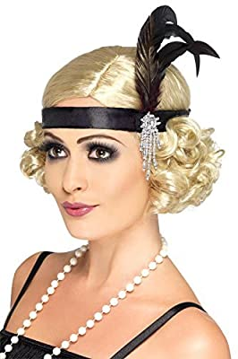 2x Smiffys Satin Charleston Headband with Feather and Jewel Detail (Black)