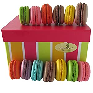 Leilalove Authentic 15 French Macarons - Assorted Fruits, Floral and Chocolate Flavors