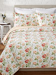 Laura Ashley Peony Garden Quilt Set Apricot Full Queen Home Kitchen