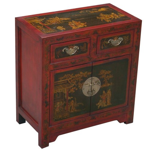 Cheap EXP Handmade Oriental furniture-28″ Antique Style Red Leather End Table / Accent Table – Traditional (B001KW8KXG)