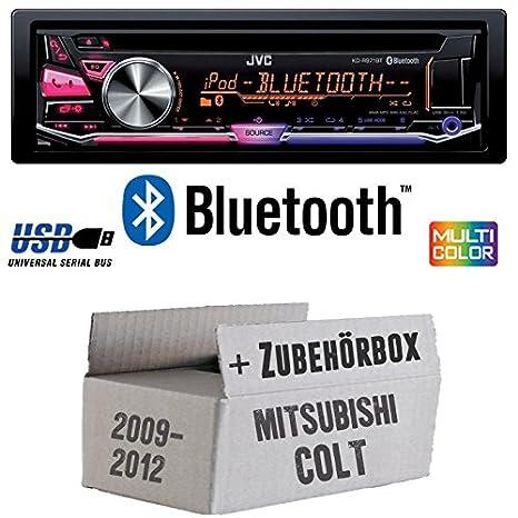 Mitsubishi Colt bis 2012 - JVC KD-R971BT - Bluetooth CD/MP3/USB MultiColor Autoradio - Einbauset