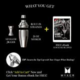 MYXER Cocktail Shaker Set 24 Oz - Premium Bar Tools Kit with Jigger, Built-in Strainer & Recipes (eBook) - Stainless Steel - Create Perfect Martini, Mojito with Bartender Drink Mixer Shaker