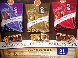 180 Snacks Nut Cluster, 21/1.25 Oz. 7 Blueberry Pomegranate, 7 Cashew Crunch and 7 Cranberry Pomegranate