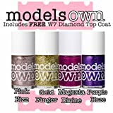 Models Own Glitter Nail Polish Lacquer Set of 4 x 14ml (Includes W7 Top Coat) Pink Fizz, Gold Finger, Magenta Divine, Purple Haze
