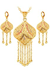 18K Gold Plated Wedding Jewelry Indian Pendant Necklace & Lone Drop Earrings Set