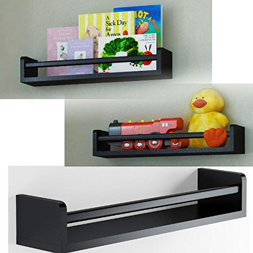Set of 3 Children's Wall Shelf Wood 17.5 Inch Multi-use Bookcase Toy Game Storage Display Organizer (Black) Kids 3 Shelf Bookcase