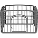 IRIS Plastic Exercise/Containment Pet Pen for Dogs, 35 by 24-Inch, Dark Gray