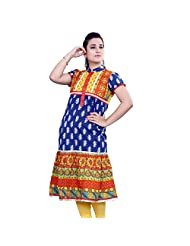 Rama Designer Cotton Dark Blue Printed Anarkali Kurti (14RAMA1421070)