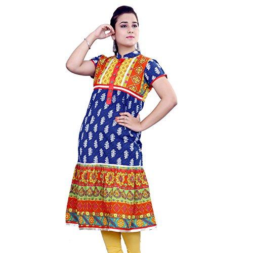 Rama Designer Cotton Dark Blue Printed Anarkali Kurti (14RAMA1421070)