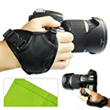 First2savvv new triangle leather digital camera SLR hand strap grip for Nikon D3200 FUJIFILM FinePix S8200 FinePix S6800 FinePix S4800 FinePix S8400W panasonic DMC-GH2 DMC-FZ48 DMC-FZ100 DMC-FZ150 DMC-G2 DMC-G5 with LENS Cleaning Cloth