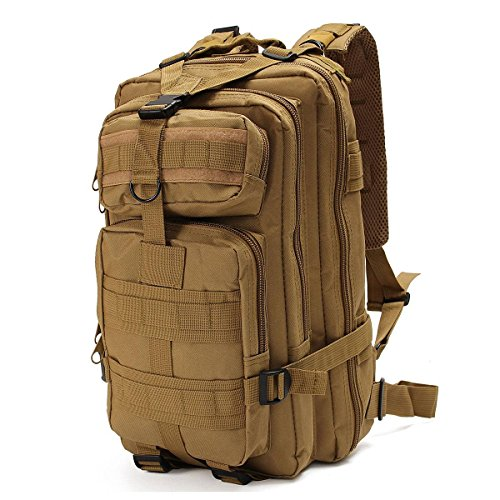 OUTERDO Military Tactical Rucksacks Backpack Camping Hiking Trekking Outdoor Sport Bag 30L 600D Nylon Multicolor 10.23 x 9.05 x 18.50inch Tan