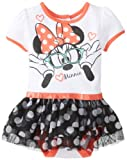 Disney Baby Baby-Girls Newborn Nerdy Minnie Mouse Skirted Creeper with Skirt