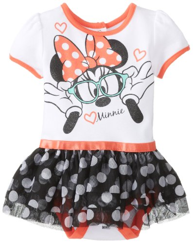 Disney Baby Baby-Girls Newborn Nerdy Minnie Mouse Skirted Creeper With Skirt, Multi, 0-3 Months front-336778