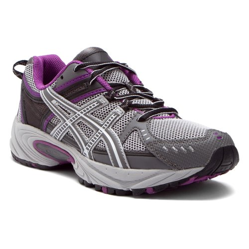 ASICS Women's Venture 3 Running Shoe,Grey/Charcoal/Purple,10.5 M US