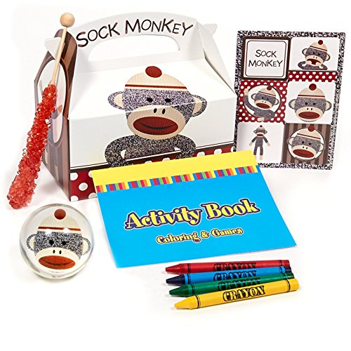 Sock Monkey Red Filled Party Favor Box (Set of 4)