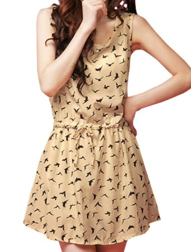 Women Scoop Neck Sleeveless Swallow Print Chiffon Dress