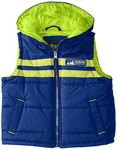iXtreme Little Boys' Polyester Puffer Vest with Hood, Navy, 3T