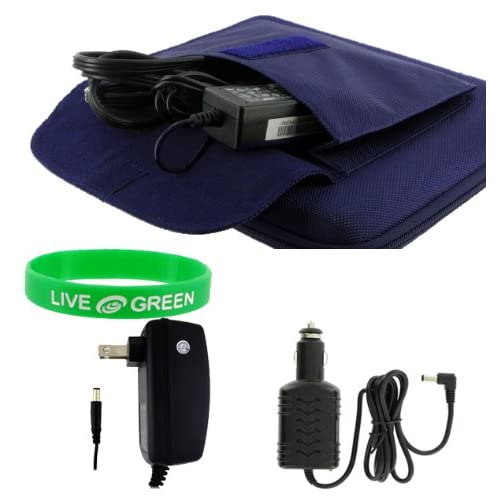 4n1 Combo   Dell Inspiron Mini 9 Inch 8.9 Inch Netbook Cube Carrying Case with 12v Car and Wall Charger   Dark Blue