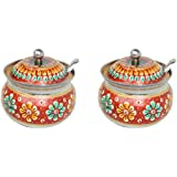 Stainless Steel Decorated Bowl With Lid And Spoon FOR TEA AND SUGAR STORAGE BOWL (Red, Pack Of 2)