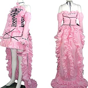 Chobits Chii Pink Dress Cosplay Costume-made