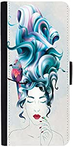 Snoogg Thinking Of Beauty Designer Protective Phone Flip Case Cover For Samsung Galaxy J2