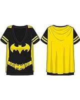 Dc Comics Batman Costume Licensed Graphic Juniors T-shirt w/ Cape
