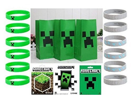 Minecraft Party Favor Pack 36 Pieces - Stickers, Bracelets, and Gift Bags Set (Party Minecraft)