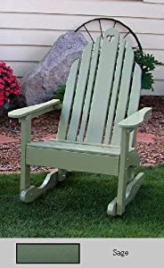Prairie Leisure Prairie Leisure Country Cottage Adirondack Rocker, Sage, Wood, 32W x 39D x 45H in.