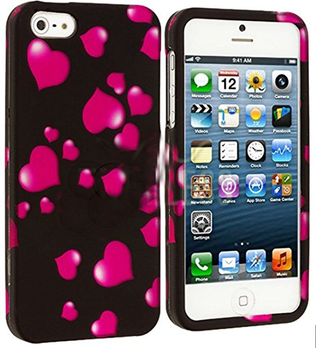 Mylife Hot Pink Heart Sprinkles Series (2 Piece Snap On) Hardshell Plates Case For The Iphone 5/5S (5G) 5Th Generation Touch Phone (Clip Fitted Front And Back Solid Cover Case + Rubberized Tough Armor Skin)