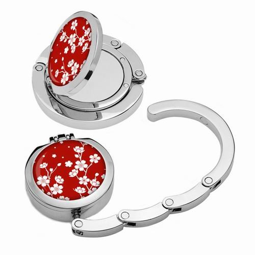 Designer Collection Magnetic Foldable Purse Hook/hanger with Hidden Mirror Red Flowers