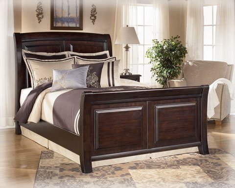 Contemporary Queen Bed Set in Dark Brown Finish