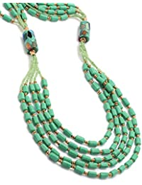NIA Green Beaded Multi-Layered Statement Necklace For Women