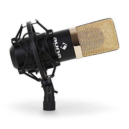 Auna MIC-900B - Microfono a condensatore USB per uso in studio con sospensione, capsula da 16 mm, 320 Hz - 18 KHz, USB - Noir/or