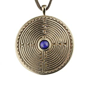 Labyrinth Peace Bronze Pendant Necklace with 6mm Lapis Lazuli Gemstone on Adjustable Natural Fiber Cord