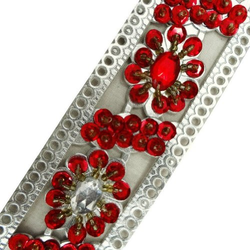 Silver Artificial Leather Trim Light Gold Beaded Red Sequin Sewing Lace India 1 Yd