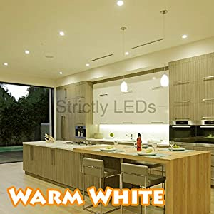 5 x Brushed Chrome 9 Watt LED Ceiling Lights / 9W Recessed Downlights in Warm White, 50W - 60W Halogen Replacements, Complete Energy Saving LED Downlighters / Ceiling Lights, Ideal for Kitchen Lighting, Bathroom Lighting, Offices & Workplaces from Discoun