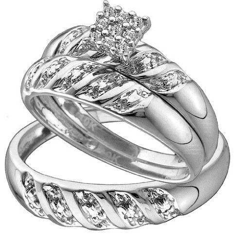 Stunning 3 Pc. White Gold Diamond Trio Wedding Set For Him And Her