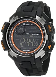 Armitron Sport Men's 40/8258GRY Chronograph Black Resin Chrome Accented Digital Watch