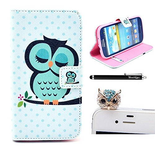 Bestelec 2 In1 Accessory Set 3D Leather Case Little Owl Flip Case Polka Dot Case Flower Cover Fairytale Stand Case For Samsung Galaxy S4 Mini I9190 By Credit Card Card Wallet Hole Handmade Book Hybrid Wallet Sweet Animals Cartoon Wood + Luxury Bling Glitt